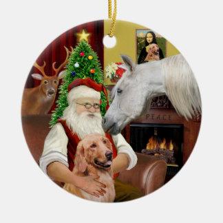 Santa - Arabian Horse and Golden Christmas Tree Ornaments