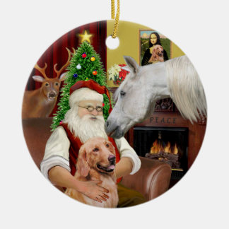 Santa - Arabian Horse and Golden Double-Sided Ceramic Round Christmas Ornament