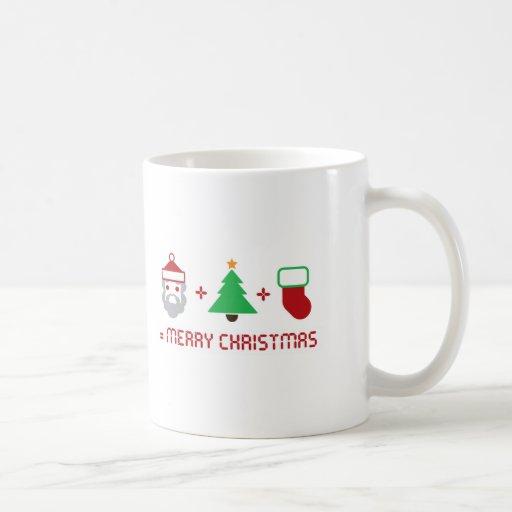 Santa + Árbol + Almacenamiento = Felices Navidad Taza Básica Blanca