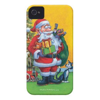 Santa, árbol de navidad y gato iPhone 4 Case-Mate cobertura