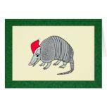 Santa Armadillo Christmas (green border) Card