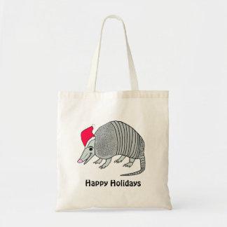 Santa Armadillo Happy Holidays Tote Budget Tote Bag