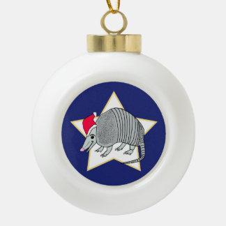 Santa Armadillo Star Christmas Ceramic Ball Christmas Ornament