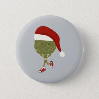 Santa Artichoke Runner Pinback Button