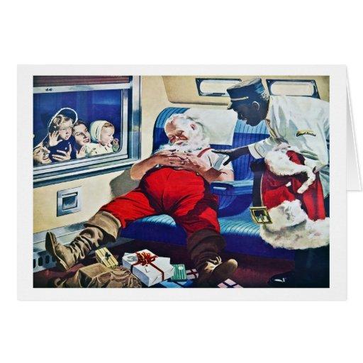 Santa Asleep on a Train Greeting Card