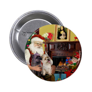 Santa At Home - Cairn Terriers (two) 2 Inch Round Button