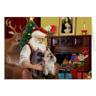 Santa At Home - Cairn Terriers (two) Card