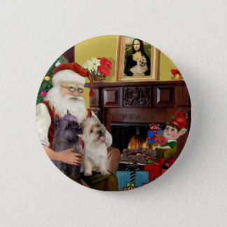 Santa At Home - Cairn Terriers (two) Pinback Button