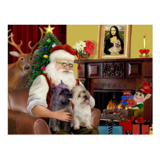 Santa At Home - Cairn Terriers (two) Postcard