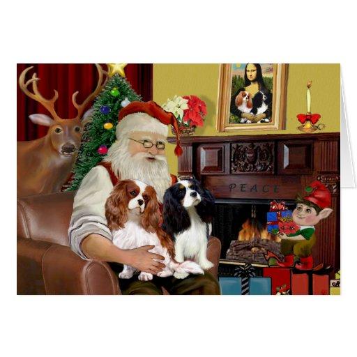 Santa At Home  Cavalier King Charles (two) Greeting Card