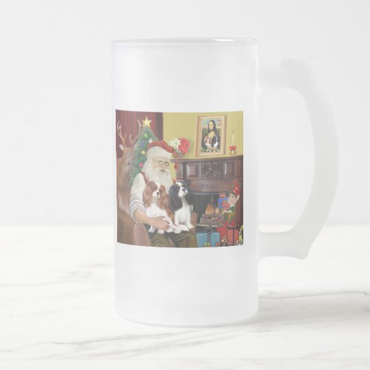 Santa At Home  Cavalier King Charles (two) Frosted Glass Beer Mug