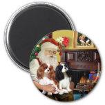 Santa At Home  Cavalier King Charles (two) Refrigerator Magnets