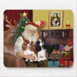 Santa At Home  Cavalier King Charles (two) Mouse Pad