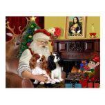 Santa At Home  Cavalier King Charles (two) Post Card