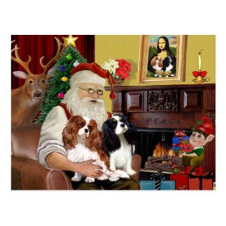 Santa At Home  Cavalier King Charles (two) Postcard