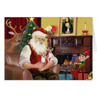Santa At Home - Chihuahuas (two) Card