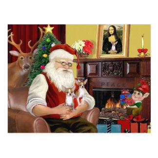 Santa At Home - Chihuahuas (two) Postcard