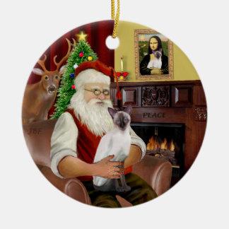 Santa at Home -  Chocolate Point Siamese Christmas Tree Ornament