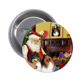 Santa At Home - Collies (two) Button