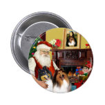 Santa At Home - Collies (two) Pinback Button