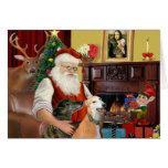 Santa At Home Greyhounds (two) Greeting Card