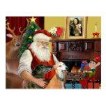 Santa At Home Greyhounds (two) Postcard