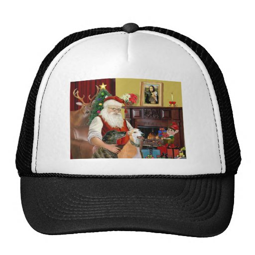 Santa At Home Greyhounds (two) Trucker Hat