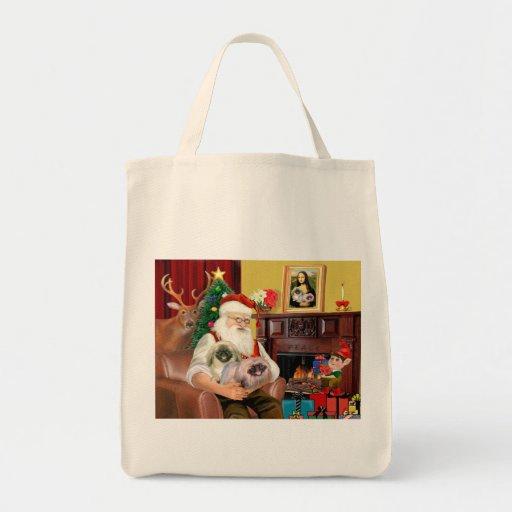 Santa At Home - Pekingese (R) - Santa Canvas Bag