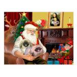 Santa At Home - Pekingese (R) - Santa Postcard