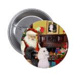 Santa At Home - Poodles (2 Standard) Pinback Button