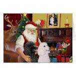 Santa At Home - Poodles (2 Standard) Greeting Card