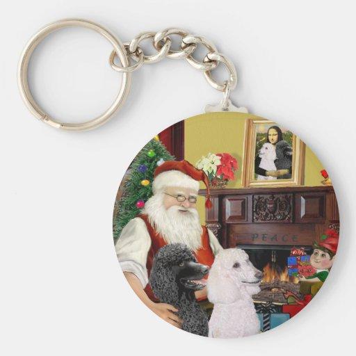 Santa At Home - Poodles (2 Standard) Key Chains