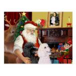 Santa At Home - Poodles (2 Standard) Postcard