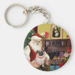 Santa At Home - Pug #5 Basic Round Button Keychain