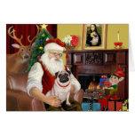 Santa At Home - Pug #5 Greeting Cards