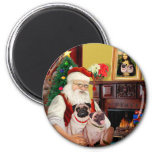Santa At Home - Pugs (two) 2 Inch Round Magnet