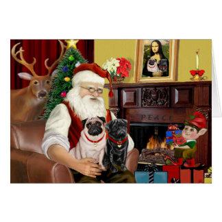 Santa At Home - Pugs two,2F,1blk) Card