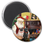Santa At Home - Pugs two,2F,1blk) 2 Inch Round Magnet