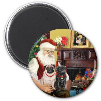 Santa At Home - Pugs two,2F,1blk) Fridge Magnets