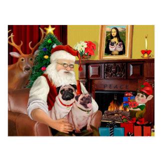 Santa At Home - Pugs (two) Postcard