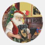Santa At Home - Rottweiler 3 Round Sticker