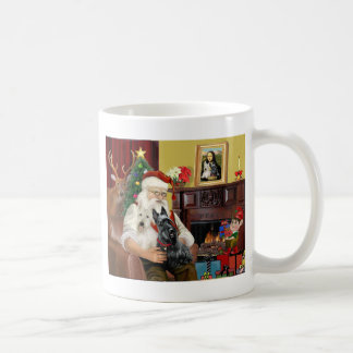 Santa At Home - Scottish Terriers two - Santa Coffee Mug