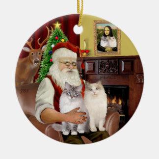 Santa at Home - Two Ragdoll cats Christmas Ornaments