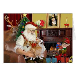 Santa At Home - Welsh Corgis (two) Card