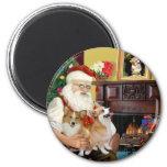 Santa At Home - Welsh Corgis (two) Refrigerator Magnets