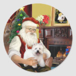 Santa At Home - West Highland Terrier 5 Round Sticker