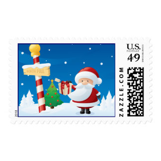 Santa at North Pole Christmas Holiday Postage