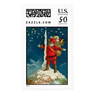 Santa at North Pole Vintage Christmas Stamps