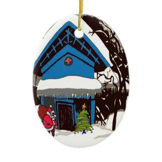 Santa at Swiss Chalet Christmas Ornament
