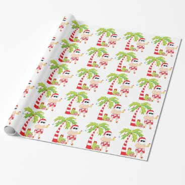 Beach Themed Santa at the Beach Christmas Wrapping Paper